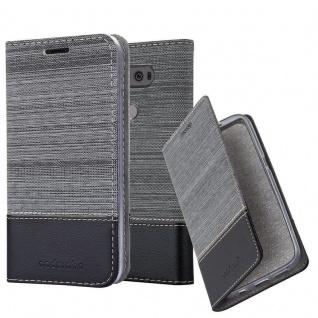 Cadorabo Hülle für LG V20 in GRAU SCHWARZ - Handyhülle mit Magnetverschluss, Standfunktion und Kartenfach - Case Cover Schutzhülle Etui Tasche Book Klapp Style