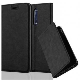 Cadorabo Hülle für Nokia 8 2017 in NACHT SCHWARZ Handyhülle mit Magnetverschluss, Standfunktion und Kartenfach Case Cover Schutzhülle Etui Tasche Book Klapp Style