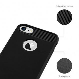Cadorabo Hülle für Apple iPhone 7 / iPhone 7S - Hülle in BRUSHED SCHWARZ ? Handyhülle aus TPU Silikon in Edelstahl-Karbonfaser Optik - Silikonhülle Schutzhülle Ultra Slim Soft Back Cover Case Bumper - Vorschau 5