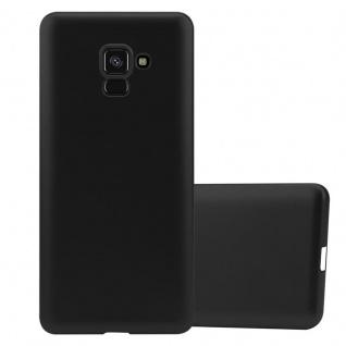 Cadorabo Hülle für Samsung Galaxy A8 2018 in METALLIC SCHWARZ - Handyhülle aus flexiblem TPU Silikon - Silikonhülle Schutzhülle Ultra Slim Soft Back Cover Case Bumper