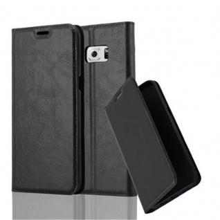 Cadorabo Hülle für Samsung Galaxy S6 EDGE PLUS in NACHT SCHWARZ - Handyhülle mit Magnetverschluss, Standfunktion und Kartenfach - Case Cover Schutzhülle Etui Tasche Book Klapp Style