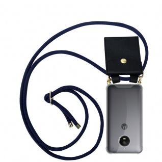Cadorabo Handy Kette für Motorola MOTO E4 in TIEF BLAU - Silikon Necklace Umhänge Hülle mit Gold Ringen, Kordel Band Schnur und abnehmbarem Etui ? Schutzhülle