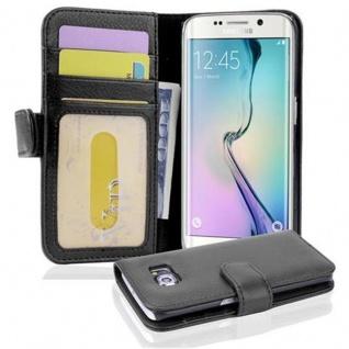 Cadorabo Hülle für Samsung Galaxy S6 EDGE in OXID SCHWARZ ? Handyhülle mit Magnetverschluss und 3 Kartenfächern ? Case Cover Schutzhülle Etui Tasche Book Klapp Style