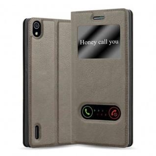 Cadorabo Hülle für Huawei P7 in STEIN BRAUN Handyhülle mit Magnetverschluss, Standfunktion und 2 Sichtfenstern Case Cover Schutzhülle Etui Tasche Book Klapp Style