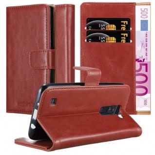 Cadorabo Hülle für LG K8 2016 in WEIN ROT Handyhülle mit Magnetverschluss, Standfunktion und Kartenfach Case Cover Schutzhülle Etui Tasche Book Klapp Style
