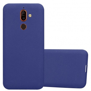 Cadorabo Hülle für Nokia 7 PLUS in FROST DUNKEL BLAU - Handyhülle aus flexiblem TPU Silikon - Silikonhülle Schutzhülle Ultra Slim Soft Back Cover Case Bumper