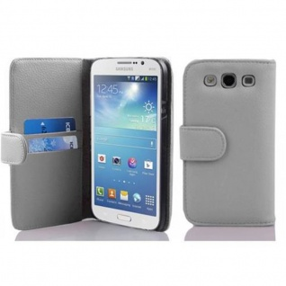 Cadorabo Hülle für Samsung Galaxy MEGA 5.8 in MAGNESIUM WEIß ? Handyhülle aus strukturiertem Kunstleder mit Standfunktion und Kartenfach ? Case Cover Schutzhülle Etui Tasche Book Klapp Style