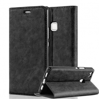 Cadorabo Hülle für Huawei P9 LITE in NACHT SCHWARZ - Handyhülle mit Magnetverschluss, Standfunktion und Kartenfach - Case Cover Schutzhülle Etui Tasche Book Klapp Style