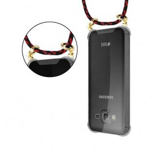 Cadorabo Handy Kette für Samsung Galaxy J3 / J3 DUOS 2016 in SCHWARZ ROT - Silikon Necklace Umhänge Hülle mit Gold Ringen, Kordel Band Schnur und abnehmbarem Etui ? Schutzhülle - Vorschau 5