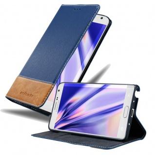 Cadorabo Hülle für Samsung Galaxy NOTE EDGE in DUNKEL BLAU BRAUN Handyhülle mit Magnetverschluss, Standfunktion und Kartenfach Case Cover Schutzhülle Etui Tasche Book Klapp Style