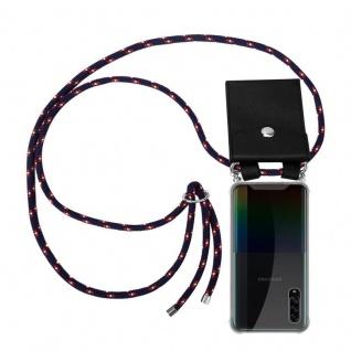 Cadorabo Handy Kette für Samsung Galaxy A90 5G in BLAU ROT WEISS GEPUNKTET Silikon Necklace Umhänge Hülle mit Silber Ringen, Kordel Band Schnur und abnehmbarem Etui Schutzhülle