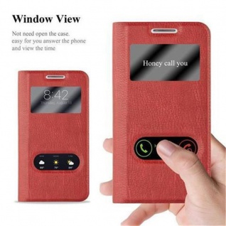 Cadorabo Hülle für Samsung Galaxy S4 MINI in SAFRAN ROT ? Handyhülle mit Magnetverschluss, Standfunktion und 2 Sichtfenstern ? Case Cover Schutzhülle Etui Tasche Book Klapp Style - Vorschau 2