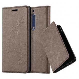 Cadorabo Hülle für Nokia 5 2017 in KAFFEE BRAUN - Handyhülle mit Magnetverschluss, Standfunktion und Kartenfach - Case Cover Schutzhülle Etui Tasche Book Klapp Style