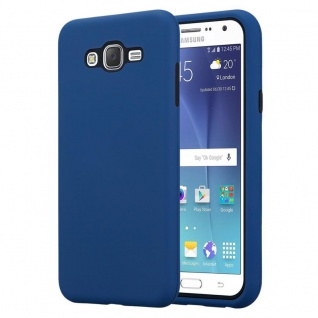 Cadorabo Hülle für Samsung Galaxy J7 2015 in DUNKEL BLAU ? Hybrid Handyhülle mit TPU Silikon Innenseite und 2teiliger Kunststoff Außenseite ? Schutzhülle Hybrid Hardcase Back Case
