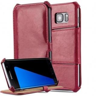 Cadorabo Hülle für Samsung Galaxy S7 EDGE - Hülle in PASSION ROT ? Handyhülle OHNE Magnetverschluss mit Standfunktion und Eckhalterung - Hard Case Book Etui Schutzhülle Tasche Cover