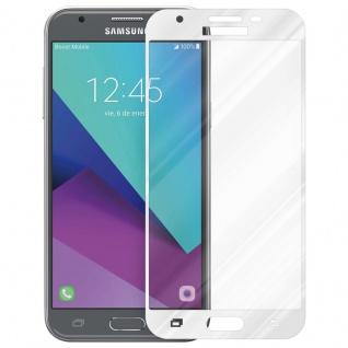 Cadorabo Vollbild Panzer Folie für Samsung Galaxy J3 2017 - Schutzfolie in TRANSPARENT mit WEISS - Gehärtetes (Tempered) Display-Schutzglas in 9H Härte mit 3D Touch (RETAIL PACKAGING)