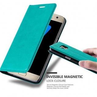 Cadorabo Hülle für Samsung Galaxy S7 in PETROL TÜRKIS - Handyhülle mit Magnetverschluss, Standfunktion und Kartenfach - Case Cover Schutzhülle Etui Tasche Book Klapp Style