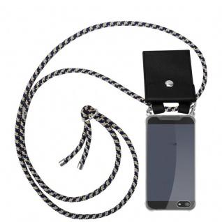 Cadorabo Handy Kette für Apple iPhone 5 / 5S / SE in DUNKELBLAU GELB - Silikon Necklace Umhänge Hülle mit Silber Ringen, Kordel Band Schnur und abnehmbarem Etui - Schutzhülle