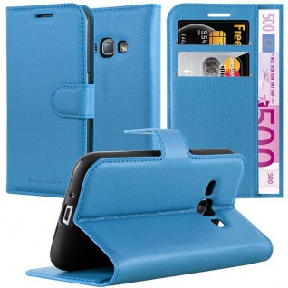 Cadorabo Hülle für Samsung Galaxy J1 2015 in KÖNIGS BLAU - Handyhülle mit Magnetverschluss, Standfunktion und Kartenfach - Case Cover Schutzhülle Etui Tasche Book Klapp Style