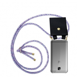 Cadorabo Handy Kette für OnePlus 3 / 3T in UNICORN Silikon Necklace Umhänge Hülle mit Gold Ringen, Kordel Band Schnur und abnehmbarem Etui Schutzhülle
