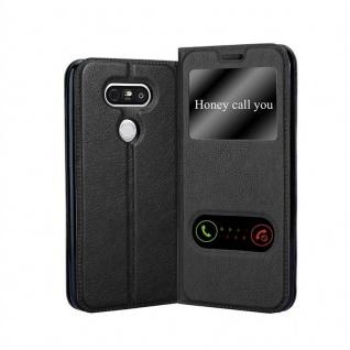 Cadorabo Hülle für LG G5 in KOMETEN SCHWARZ Handyhülle mit Magnetverschluss, Standfunktion und 2 Sichtfenstern Case Cover Schutzhülle Etui Tasche Book Klapp Style