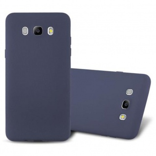 Cadorabo Hülle für Samsung Galaxy J7 2016 in FROST DUNKEL BLAU - Handyhülle aus flexiblem TPU Silikon - Silikonhülle Schutzhülle Ultra Slim Soft Back Cover Case Bumper