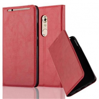 Cadorabo Hülle für ZTE Axon 7 in APFEL ROT - Handyhülle mit Magnetverschluss, Standfunktion und Kartenfach - Case Cover Schutzhülle Etui Tasche Book Klapp Style