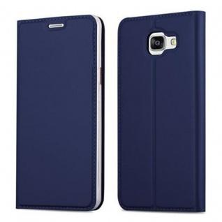 Cadorabo Hülle für Samsung Galaxy A5 2016 in CLASSY DUNKEL BLAU - Handyhülle mit Magnetverschluss, Standfunktion und Kartenfach - Case Cover Schutzhülle Etui Tasche Book Klapp Style