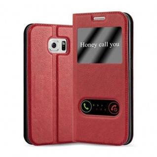 Cadorabo Hülle für Samsung Galaxy S6 EDGE in SAFRAN ROT - Handyhülle mit Magnetverschluss, Standfunktion und 2 Sichtfenstern - Case Cover Schutzhülle Etui Tasche Book Klapp Style