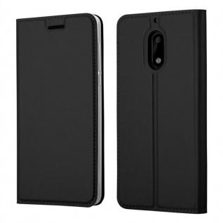 Cadorabo Hülle für Nokia 6 2017 in CLASSY SCHWARZ - Handyhülle mit Magnetverschluss, Standfunktion und Kartenfach - Case Cover Schutzhülle Etui Tasche Book Klapp Style