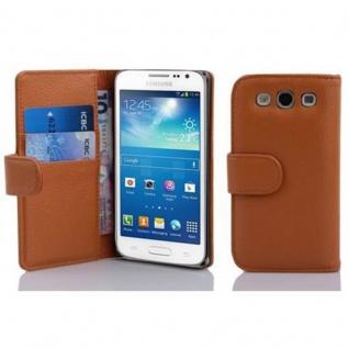 Cadorabo Hülle für Samsung Galaxy EXPRESS 2 in COGNAC BRAUN ? Handyhülle aus strukturiertem Kunstleder mit Standfunktion und Kartenfach ? Case Cover Schutzhülle Etui Tasche Book Klapp Style