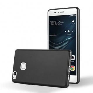 Cadorabo Hülle für Huawei P9 LITE in METALLIC SCHWARZ - Handyhülle aus flexiblem TPU Silikon - Silikonhülle Schutzhülle Ultra Slim Soft Back Cover Case Bumper