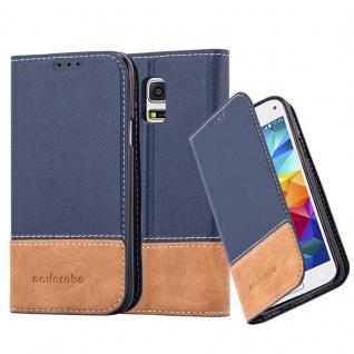 Cadorabo Hülle für Samsung Galaxy S5 MINI / S5 MINI DUOS in BLAU BRAUN Handyhülle mit Magnetverschluss, Standfunktion und Kartenfach Case Cover Schutzhülle Etui Tasche Book Klapp Style