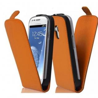 Cadorabo Hülle für Samsung Galaxy S3 MINI - Hülle in ORANGE ? Handyhülle aus glattem Kunstleder im Flip Design - Case Cover Schutzhülle Etui Tasche