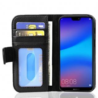 Cadorabo Hülle für Huawei P20 LITE in OXID SCHWARZ ? Handyhülle mit Magnetverschluss und 3 Kartenfächern ? Case Cover Schutzhülle Etui Tasche Book Klapp Style