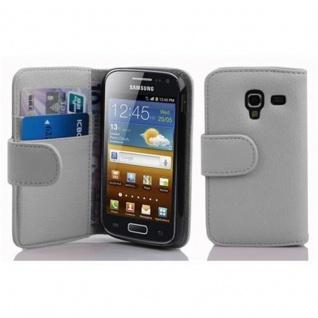 Cadorabo Hülle für Samsung Galaxy ACE 2 in MAGNESIUM WEIß ? Handyhülle aus strukturiertem Kunstleder mit Standfunktion und Kartenfach ? Case Cover Schutzhülle Etui Tasche Book Klapp Style - Vorschau 1