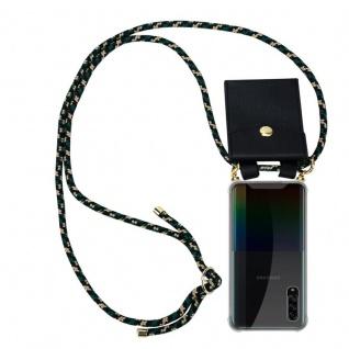 Cadorabo Handy Kette für Samsung Galaxy A90 5G in CAMOUFLAGE Silikon Necklace Umhänge Hülle mit Gold Ringen, Kordel Band Schnur und abnehmbarem Etui Schutzhülle