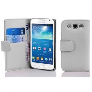 Cadorabo Hülle für Samsung Galaxy EXPRESS 2 in MAGNESIUM WEIß - Handyhülle aus strukturiertem Kunstleder mit Standfunktion und Kartenfach - Case Cover Schutzhülle Etui Tasche Book Klapp Style