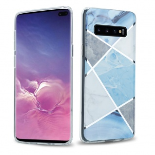 Cadorabo Hülle für Samsung Galaxy S10 PLUS Hülle in Blau weiß grau Marmor No.2 Handyhülle aus TPU Silikon mit Muster Mosaik Silikonhülle Schutzhülle Ultra Slim Back Cover Case Bumper