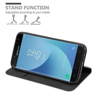 Cadorabo Hülle für Samsung Galaxy J7 2017 in NACHT SCHWARZ - Handyhülle mit Magnetverschluss, Standfunktion und Kartenfach - Case Cover Schutzhülle Etui Tasche Book Klapp Style - Vorschau 5