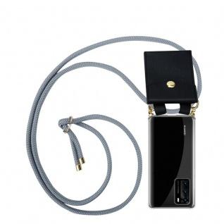 Cadorabo Handy Kette für Huawei P40 in SILBER GRAU Silikon Necklace Umhänge Hülle mit Gold Ringen, Kordel Band Schnur und abnehmbarem Etui Schutzhülle