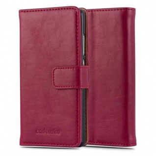 Cadorabo Hülle für Huawei P8 LITE 2015 in WEIN ROT ? Handyhülle mit Magnetverschluss, Standfunktion und Kartenfach ? Case Cover Schutzhülle Etui Tasche Book Klapp Style