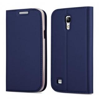 Cadorabo Hülle für Samsung Galaxy S4 MINI in CLASSY DUNKEL BLAU - Handyhülle mit Magnetverschluss, Standfunktion und Kartenfach - Case Cover Schutzhülle Etui Tasche Book Klapp Style