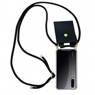 Cadorabo Handy Kette für Huawei P30 in SCHWARZ ? Silikon Necklace Umhänge Hülle mit Gold Ringen, Kordel Band Schnur und abnehmbarem Etui ? Schutzhülle