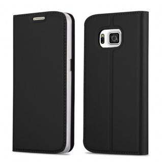 Cadorabo Hülle für Samsung Galaxy ALPHA in CLASSY SCHWARZ Handyhülle mit Magnetverschluss, Standfunktion und Kartenfach Case Cover Schutzhülle Etui Tasche Book Klapp Style