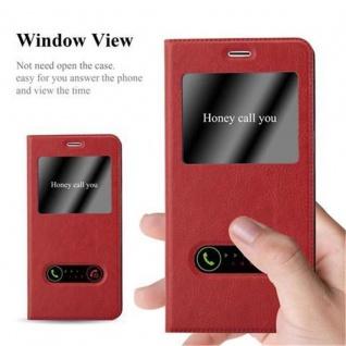 Cadorabo Hülle für OnePlus 3 / 3T in SAFRAN ROT - Handyhülle mit Magnetverschluss, Standfunktion und 2 Sichtfenstern - Case Cover Schutzhülle Etui Tasche Book Klapp Style - Vorschau 2