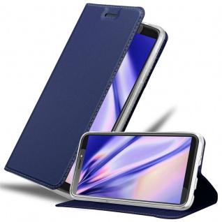 Cadorabo Hülle für HTC Desire 12 PLUS in CLASSY DUNKEL BLAU - Handyhülle mit Magnetverschluss, Standfunktion und Kartenfach - Case Cover Schutzhülle Etui Tasche Book Klapp Style