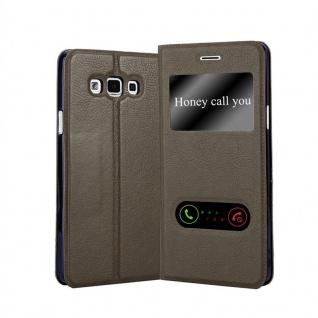 Cadorabo Hülle für Samsung Galaxy A7 2015 in STEIN BRAUN - Handyhülle mit Magnetverschluss, Standfunktion und 2 Sichtfenstern - Case Cover Schutzhülle Etui Tasche Book Klapp Style