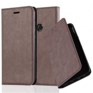 Cadorabo Hülle für Huawei P8 LITE 2017 in KAFFEE BRAUN - Handyhülle mit Magnetverschluss, Standfunktion und Kartenfach - Case Cover Schutzhülle Etui Tasche Book Klapp Style