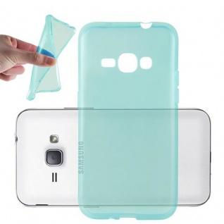 Cadorabo Hülle für Samsung Galaxy J1 2016 in TRANSPARENT BLAU - Handyhülle aus flexiblem TPU Silikon - Silikonhülle Schutzhülle Ultra Slim Soft Back Cover Case Bumper